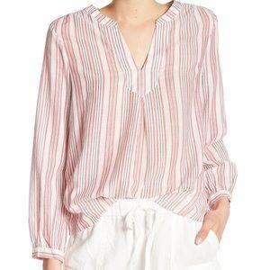 Joie Theoline Stripe Cotton Blouse, size medium